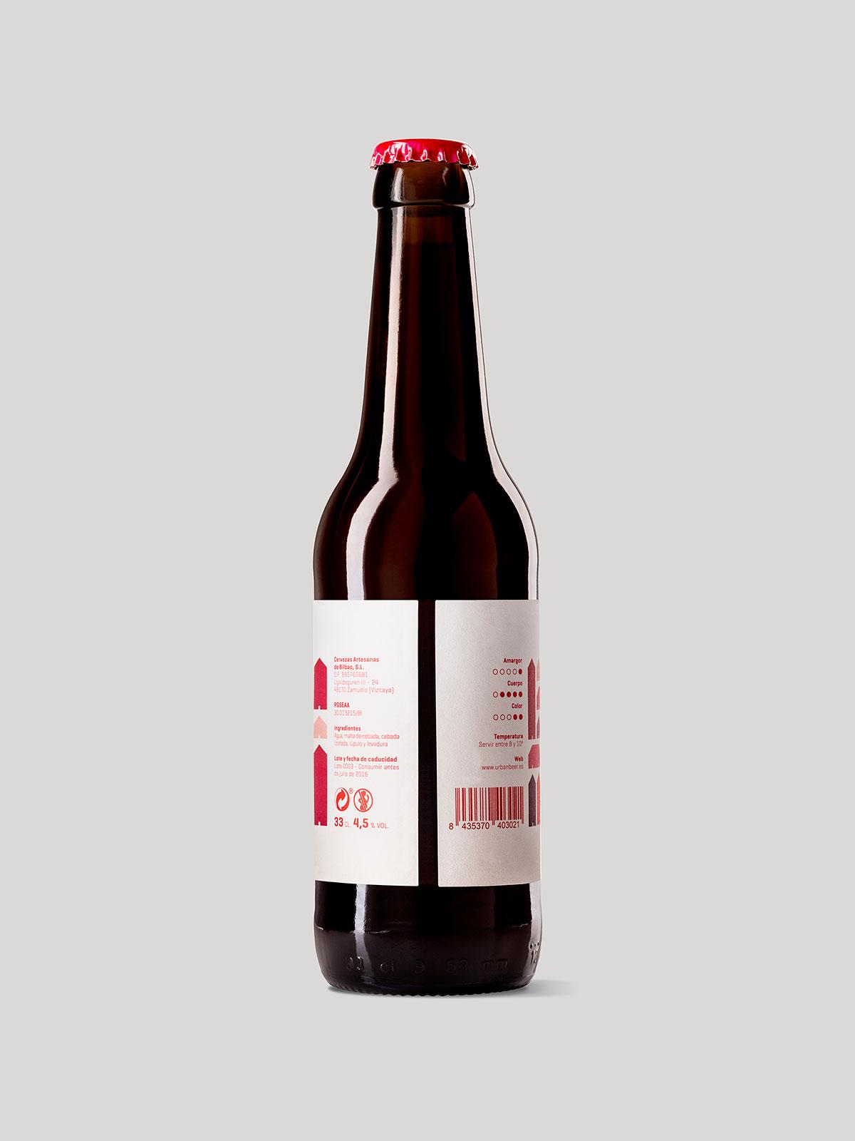 Vista lateral de la etiqueta para la variedad dark lager